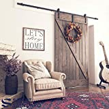 SMARTSTANDARD 9ft Heavy Duty Sturdy Sliding Barn Door Hardware Kit -Smoothly and Quietly -Easy to Install -Includes Step-by-Step Installation Instruction Fit 54' Wide Door Panel (I Shape Hanger)