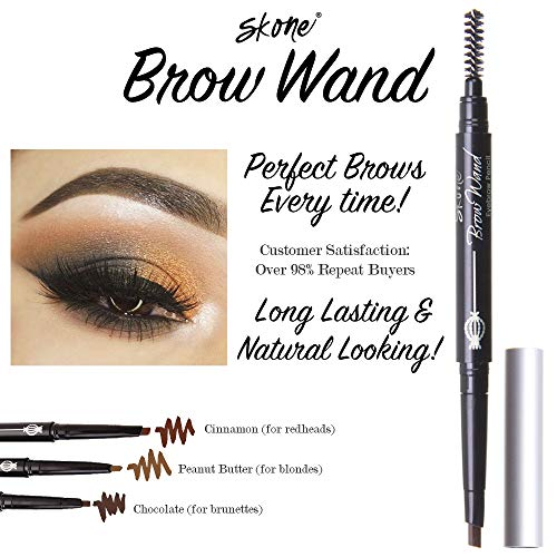 Skone Cosmetics | Totally Defined Eyebrow Wand and Pencil Liner| Waterproof | Smudgeproof | Long Lasting | Color - Chocolate | For Brunettes