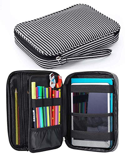 Zannaki Large Capacity Pencil Holder Case, Stripe Marker Pen Stationery Bag, Canvas Storage Pouch for Bullet Journal/Graphic Calculator/Tombow Dual Bush Pen/IPadmini at School Office Home
