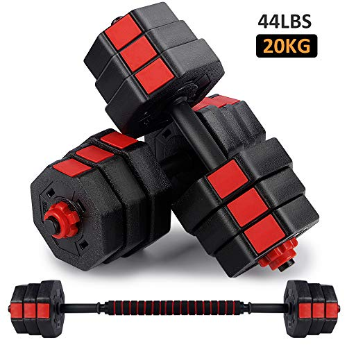 wolfyok Fitness Dumbbells Set, Adjustable Weight to 44Lbs, Home Fitness Equipment for Men and Women Gym Work Out Exercise Training with Connecting Rod...