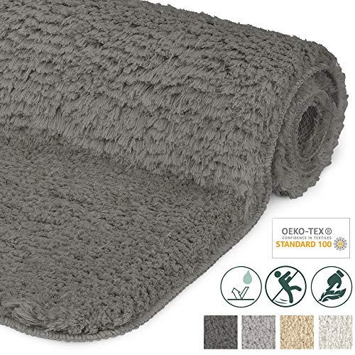Beautissu Badematte rutschfest BeauMare FL Hochflor Teppich 100x60 cm Anthrazit - WC Badteppich flauschige Bodenmatte oder Badvorleger für Dusche, Badewanne und Toilette - für Fußbodenheizung geeignet