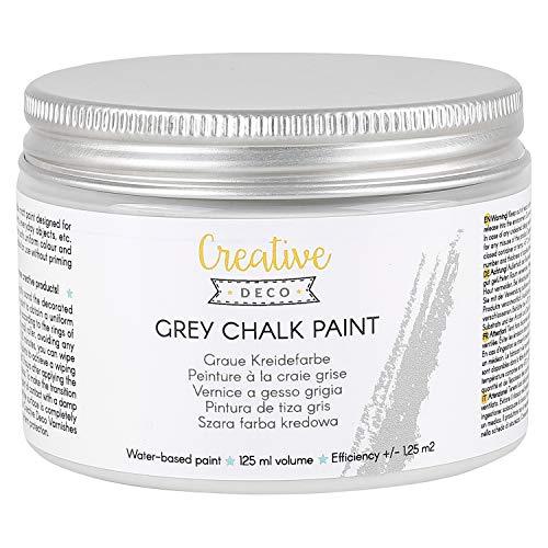 Creative Deco Graue Kreidefarbe | 125 ml | Matt & abwaschbar | Perfekt für Möbelrenovierung, Dekoration & Decoupage | Wischeffekt und Gradienteffekt möglich