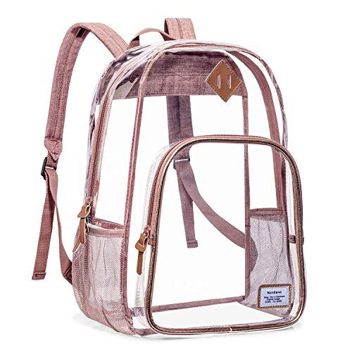NiceEbag Durchsichtiger Rucksack Clear Backpack Transparente Schulrucksack Großer Rucksack für Frauen und Männer Stadiongeprüfte Schultasche für die Arbeit College Reisen, Rosa gold