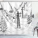 Lunarable Cortina de Ducha de Invierno, Ski Lift con árboles de Abeto Monocromo Temporada Sketch diseño de Destino de Vacaciones, de Tela Decor Set de baño con Ganchos, Color Negro y Blanco