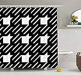 Duschvorhang, niedlicher Duschvorhang Baby Oberflächenmuster Hahnentritt Material Ornament Zahnfiguren Stoff Bad Set mit Haken Bad Duschvorhang Duschvorhang für Frauen