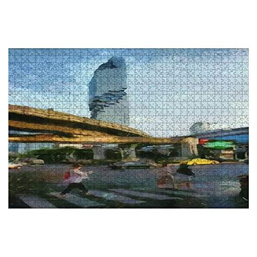 1000 piezas Paisaje de la estructura del tren eléctrico en el centro...