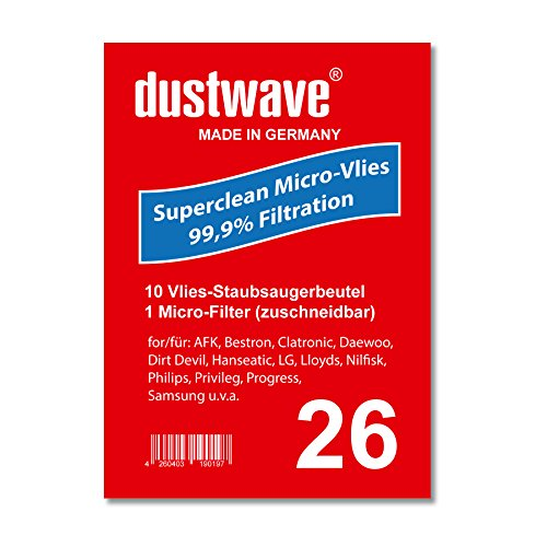 Pack de ahorro–10bolsas para aspiradoras Ufesa–At 7506Mousy Aspiradora–dustwave Marca Bolsa para el polvo/Fabricado en Alemania + Incluye Micro de filtro
