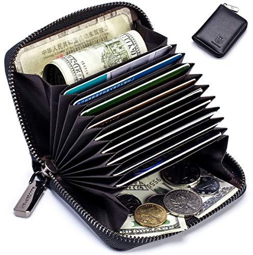 BULLCAPTAIN Genuine Leather Men Wallet Card Holder Cards Zipper Credit Card Pack Case Purse 1