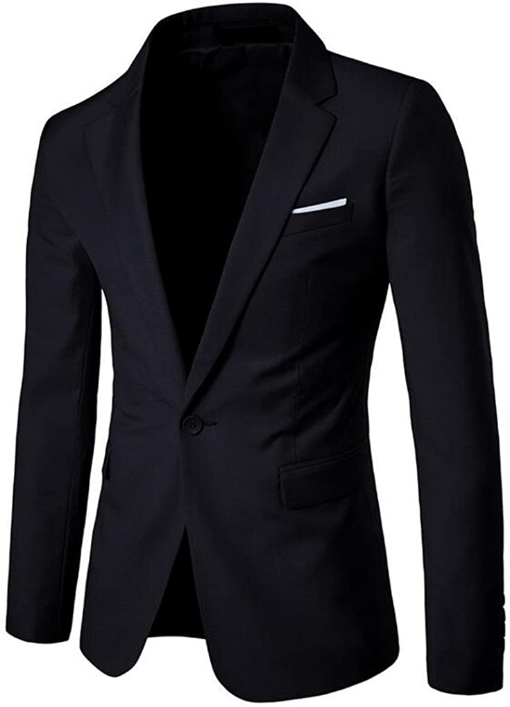 Cafuny Men's Casual Slim One Button Solid Blazer Suit Jacket