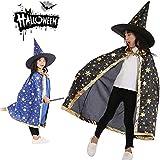 uBook Kinder Halloween-Umhang, Zauberer-Umhang mit Hut, Halloween-Kostüme mit goldenem Sternenmuster (blau, schwarz)