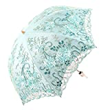 Honeystore Vintage Lace UV Sun Parasol Folding 3D Flower Embroidery Umbrella BM1618 Blue