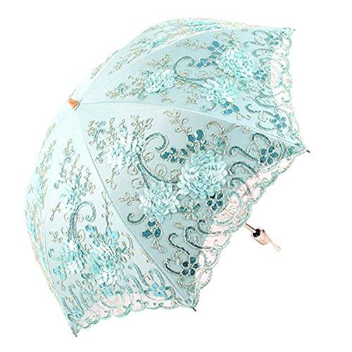 Honeystore Vintage Lace UV Sun Parasol Folding 3D Flower Embroidery Umbrella BM1618 Blue