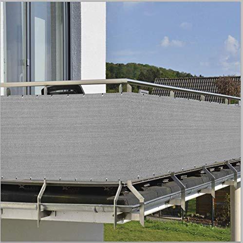 HENG FENG 90X300cm Balcón Pantalla Protección de Privacidad HDPE 180 g/m² Protección UV Resistente al Viento Sujetacables Adjundas para Jardín Balcón Terraza Beige-Gris