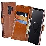 Suncase Book-Style (Slim-Fit) für Samsung Galaxy S9 Plus Ledertasche Leder Tasche Handytasche Schutzhülle Hülle Hülle (mit Standfunktion & Kartenfach) Cognac