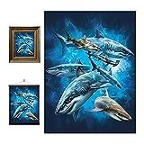 3D LiveLife Lenticular Cuadros Decoración - Tiburón bañándose de Deluxebase. Poster 3D sin marco del océano. Obra de arte original con licencia del reconocido artista, Tami Alba
