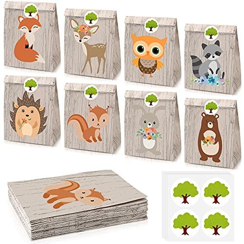 32 Sacchetti per Caramelle con Animali di Bosco di Safari Borse con Animali di Giungla per Bomboniere per Feste Baby Shower Bambini Forniture per Feste di Compleanno da Fattoria, 8 Stili