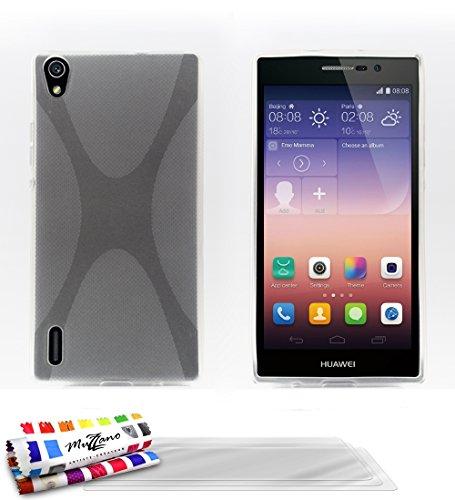MUZZANO Original X-Cover Flessibile, per Huawei Ascend P7, Dual Sim, con 3 pellicole di Protezione per Lo Schermo, Ultra Trasparenti, Colore: Trasparente