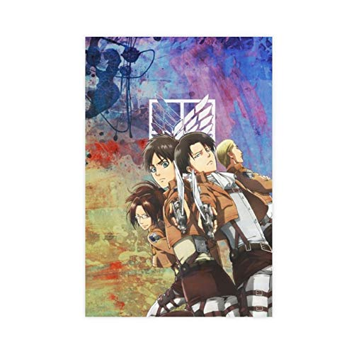 Póster de Anime Attack on Titan Temporada 4 Eren Jaeger 7 Lienzo decorativo para dormitorio, deportes, paisaje, oficina, decoración de habitación, regalo de 30 x 45 cm, estilo Unframe-1