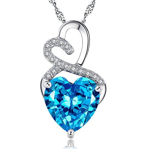 MABELLA Doble corazón simulado rubí Esmeralda Amatista Sapphire Azul topacio Plata de Ley Collar San Valentín Regalos para Las Mujeres