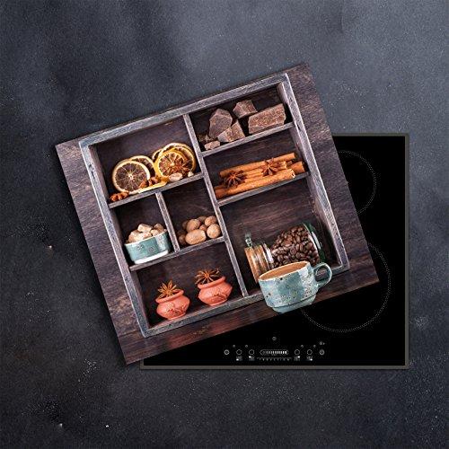 DAMU | Ceranfeldabdeckung 1 Teilig 60x52 cm Herdabdeckplatten Gewürze Küche Elektroherd Induktion Herdschutz Spritzschutz Glasplatte Schneidebrett