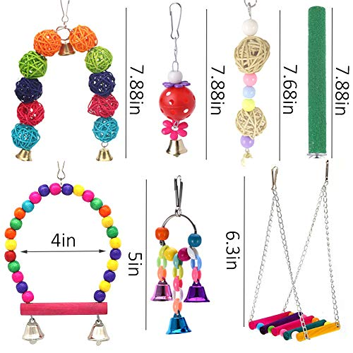 ICOSHOW 12 Packs Bird Toys Parrot Swing Toys - Chewing Hanging Bell Pet Birds Cage Toys Suitable for Small Parakeets, Conures, Love Birds, Cockatiels, Macaws, Finches