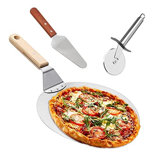 Yoyoblue Pizzaschieber Pizzaschaufel Edelstahl+Pizzaheber mit Holzgriff+Pizzaschneider Qualitäts Dreiteiliger Anzug Bäckerutensilien 3 in 1, zum Backen von Pizza und Kuchen im Ofen