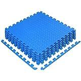 Yes4All Interlocking Floor Mats – Foam Floor Mats/Gym Floor Mats with EVA Interlocking Tiles (24 Square Feet – Blue – 6 Tiles)
