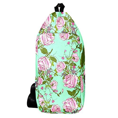 EZIOLY Mochila de hombro vintage con rosas hermosas para viajes, senderismo, mochila para hombres y mujeres