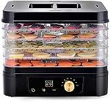 CHICAI Máquina de deshidratador de alimentos eléctricos premium, temporizador digital y control de temperatura de termostato ajustable, 5 bandejas con perfección for bruscas de carne, yogur, hierbas