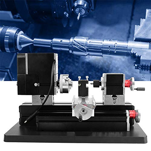 InLoveArts 20000Rpm 60W Mini metalen draaibank, 12 V DC / 5 A Hss draaigereedschap en riem beschermkap DIY gereedschap metaal houtbewerkingsgereedschap