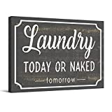 """Barnyard Designs Laundry Today Or Naked Tomorrow Rustic Wood Sign With Sayings Funny Laundry Room Wall Decor 15.75"""" x 11.75"""""""