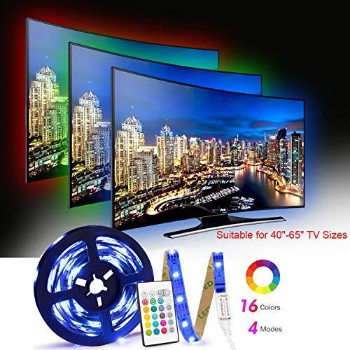 Tiras LED TV 2.5M, Tira LED USB con Control Remoto, 4 Modos de Brillo y 16 Colores, 5050 RGB Tira LED para Habitacion, Hogar, Cocina, Porche, Bar, Fiesta, Boda y Restaurante