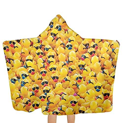 VVSADEB Toallas de goma amarillas con gafas de sol poncho con capucha, ultra suaves, extra grandes, de secado rápido, toallas de baño de playa con capucha para niños y niñas (tamaño único)