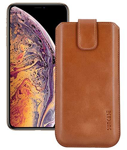 Suncase iPhone XS Max (6,5 inch) lederen tas rugzak, cognac