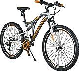 KRON ARES 4.0 Fully Mountainbike 27.5 Zoll | 21 Gang Shimano Kettenschaltung mit V-Bremse | 16.5 Zoll Rahmen Vollgefedert MTB Erwachsenen- und Jugendfahrrad | Grau & Orange