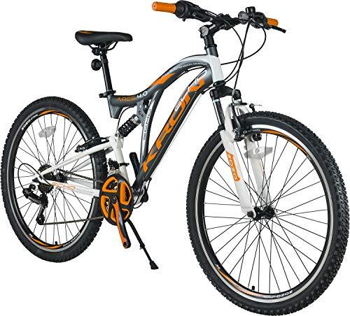 KRON ARES 4.0 Fully Mountainbike 26 Zoll | 21 Gang Shimano Kettenschaltung mit V-Bremse | 16.5 Zoll Rahmen Vollgefedert MTB Erwachsenen- und Jugendfahrrad | Grau & Orange