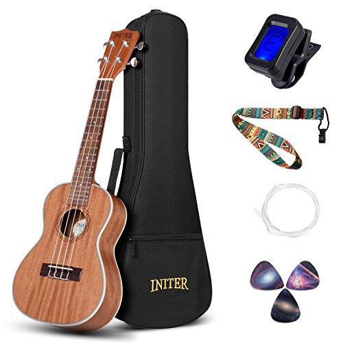INITER Concert Ukulele Guitar Starter Kit,23 inch Ukulele for Beginner Hawaiian Guitar Bundle with Gig Bag,tuner,Strings,Strap
