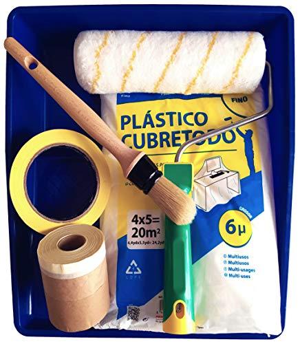 BeBright Kit Pintura Pared – Rodillo Pintura Antigoteo 22 cm + Cinta de Carrocero + Cinta Pintor con Papel + Brocha Pintura + Plástico Cubretodo + Cubeta Pintura ECO-FRIENDLY