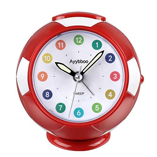 Ayybboo Reloj Despertador Analógico Niños, Despertador para Niños Silencio con Luz Sin Tictac Reloj de Mesa Simple con Snooze Reloj Despertador Dormitorio Estudio Despertadores de Niños (Rojo)