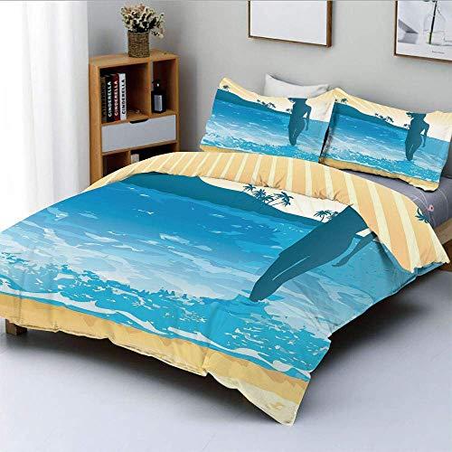 Juego de funda nórdica, Summer Vibes Girl Near The Sea Shore Ocean Palms Waves Sunny Art Print Juego de cama decorativo de 3 piezas con 2 fundas de almohada, azul cielo crema azul pizarra, el mejor re