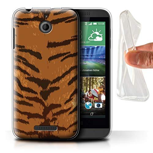 Handy Hülle kompatibel mit HTC Desire 510 Mode Tierdruck Muster Tiger Streifen Transparent Klar Ultra Sanft Flexibel Silikon Gel/TPU Hülle Cover