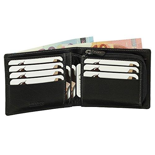Luxus Leder Geldbörse Portemonnaie Geldbeutel Münzfach mit Reißverschluss 12 cm Farbe schwarz