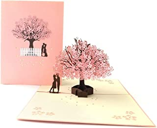 3D Pop-Up Card Cherry Tree Valentine's Day Stereo Greeting Card Thanksgiving Christmas Wedding Hand-Made Gift (3Pcs) 1520Cm