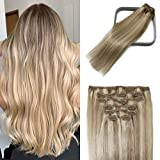 Clip in Hair Extensions Human Hair Balayage Mixed Bleach Blonde 15Inch 70g Hair Extensions for Women Blonde Fine Hair Thick and Straight Full Head 7PCS #18p613 Gift for Women