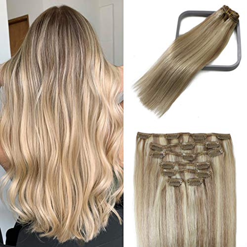 Clip In Hair Extensions Human Hair Mixed Bleach Blonde 18Inch 70g Hair Extensions for Black Women Remy Hair Extensions Stainless Clips Thick Full Head #18p613 7PCS