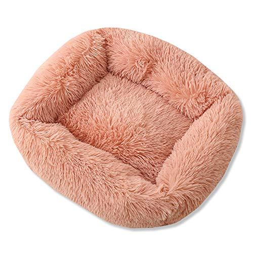 A.1.Coo Plush pet bed, rectangular warm dog cat kennel plush kennel, soft dog sofa, cat bed orthopedic sleeping bag, improve sleep, non-slip bottom can be machine washed,Pink,M