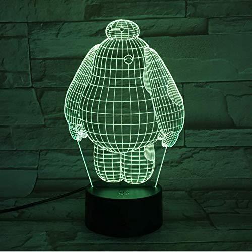 3D led ilusión lámpara Cool Baby Night Lamp Big Hero Nightlight para niños Habitación Sensor táctil Cambio de color Luz nocturna para niños