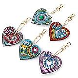 5 Piezas 5D Diamante Pintura Llavero Colgante,DIY Pintura De Diamante Completo Llavero Corazón del Amor Punto De Cruz Bordado Llavero