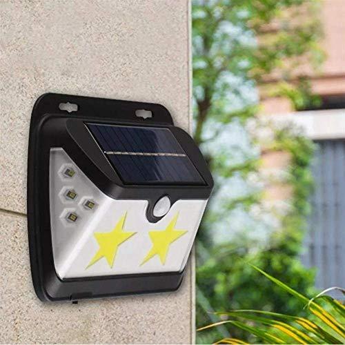 QINGJIA Lighting Decor, Outdoor Lighting LED Solar Powered COB Star Wall Lamp PIR Motion Sensor Waterproof Outdoor Garden Yard Gate Light