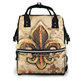 Shichangwei Diaper Bag Backpack Travel Bag Large Multifunction Waterproof Fleur De lis Stylish and Durable Nappy Bag for Baby Care School Backpack